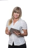 Woman is using a tablet Stock Photo
