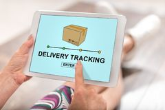 Delivery tracking concept on a tablet Stock Photos