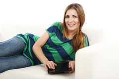 Woman using a tablet Royalty Free Stock Photo