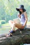 Woman using tablet outdoor Stock Photos