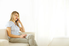 Woman using a Tablet PC Royalty Free Stock Images