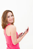 Woman using tablet PC Stock Images