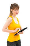 Woman using tablet PC Royalty Free Stock Photos