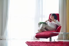 Woman using tablet pc at home Royalty Free Stock Photo