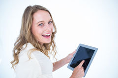 Woman using tablet pc Royalty Free Stock Photography