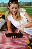 Woman using a tablet on a picnic Stock Photo