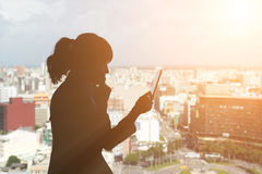 Woman using tablet Stock Image
