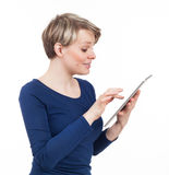Woman using a touchpad Royalty Free Stock Photos