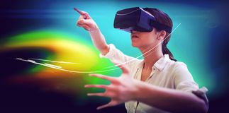 Woman using a virtual reality device royalty free stock photo