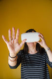 Woman using virtual reality glasses Stock Images