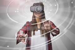 Woman Using Virtual Reality Headset Royalty Free Stock Photo