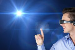 Woman using virtual reality headset royalty free stock image