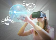Free Woman Using Virtual Reality Headset And Touching Futuristic Interface Royalty Free Stock Photos - 87981948