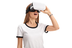 Woman using a virtual reality headset Royalty Free Stock Photos