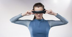 Woman using virtual reality headset Royalty Free Stock Images