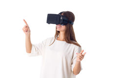 Woman Using VR Glasses Stock Images