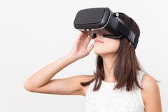 Woman using VR headset Royalty Free Stock Image