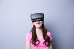 Woman using VR headset glasses Royalty Free Stock Image