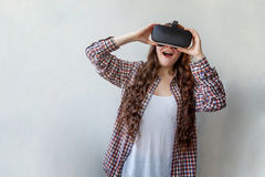 Woman using VR headset Royalty Free Stock Photo