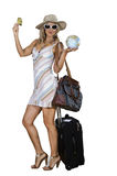 Woman on vacation with beach bag Stock Images