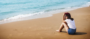 Woman Vacation Beach Holiday Travel Women Concept Royalty Free Stock Images