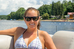 Woman on vacation on a boat portrait Stock Photos