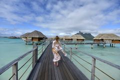 Woman on vacation in Bora bora Royalty Free Stock Photography