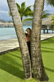 Woman on vacation in Bora bora Royalty Free Stock Photos