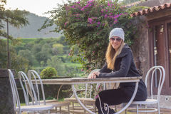 Woman on vacation in countryside Stock Photos