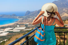 Woman on vacation in Greece Royalty Free Stock Image