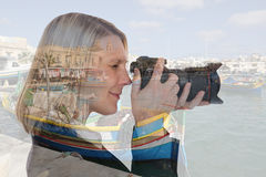 Woman vacation holidays travel traveling taking photos with came Royalty Free Stock Photo