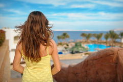 Woman on vacation looking at sea Egypt Stock Photo
