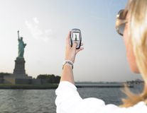Woman on Vacation in NYC Stock Images