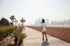 Woman on vacation in the Palm Jumeirah Royalty Free Stock Images
