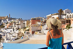 Woman on vacation in Santorini, Greece Royalty Free Stock Photography