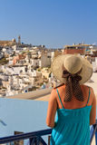 Woman on vacation in Santorini, Greece Royalty Free Stock Photo
