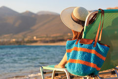 Woman on vacation at the sea Stock Image