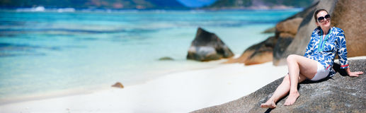 Woman on vacation in Seychelles Stock Photo