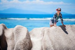 Woman on vacation in Seychelles Stock Image