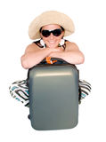 Woman on vacation with suitcase over white Royalty Free Stock Photography