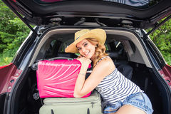 Woman on vacation. Summer holiday and car travel concept Stock Photo