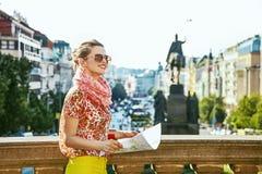 Woman on Vaclavske namesti in Prague Czech Republic sightseeing Stock Photos