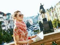 Woman on Vaclavske namesti in Prague Czech Republic sightseeing Royalty Free Stock Image