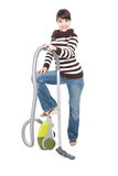 Woman with vacuum Stock Images