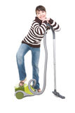 Woman with vacuum Royalty Free Stock Images