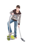 Woman with vacuum. Young adult woman with vacuum . over white background stock image