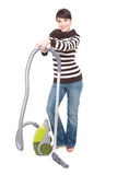 Woman with vacuum. Young adult woman with vacuum . over white background stock photography