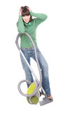 Woman with vacuum. Young adult brunette woman with vacuum. over white background Royalty Free Stock Photography