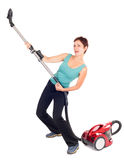 Woman with vacuum cleaner Stock Photos