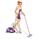 Woman with vacuum cleaner Stock Images